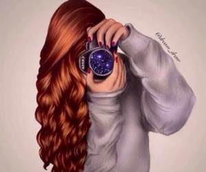 drawing, camera, and hair image