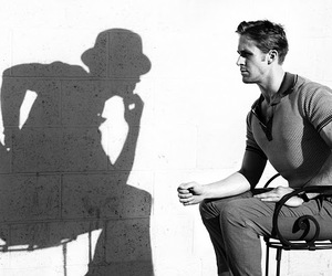 ryan gosling, black and white, and shadow image