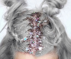hair, glitter, and stars image
