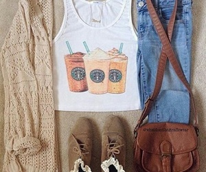 fashion, outfit, and starbucks image