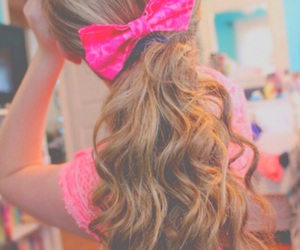 bow, curly hair, and girl image