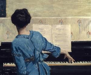 art, piano, and blue image