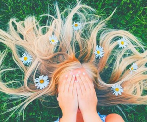 blonde, girl, and grass image