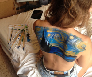 art, girls, and paint image