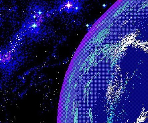 space, earth, and pixel image