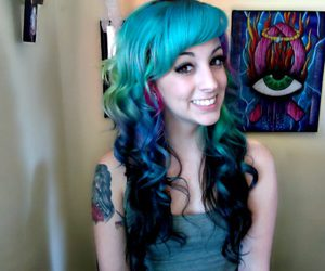 blue hair, colorful, and curls image