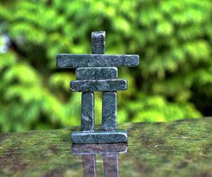 etsy, natural stone, and inukshuk figurine image