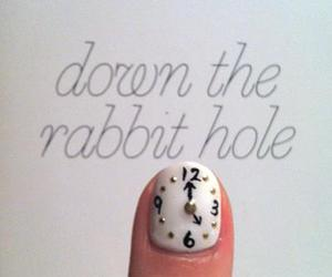 nails, clock, and alice in wonderland image