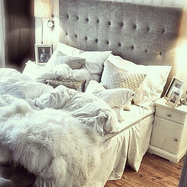 Cozy Fluffy Bed White Bedroom On We Heart It