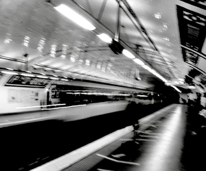 black and white, metro, and station image