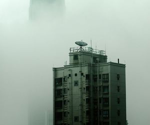 building, fog, and house image