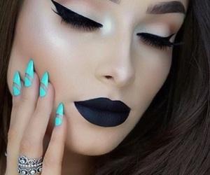 makeup, nails, and black image