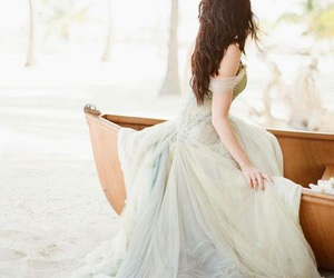 dress, boat, and wedding dress image