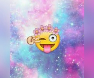 emoji, flowers, and galaxy image