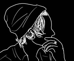 outline, black, and Harry Styles image