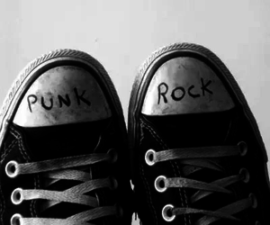 punk, rock, and black and white image