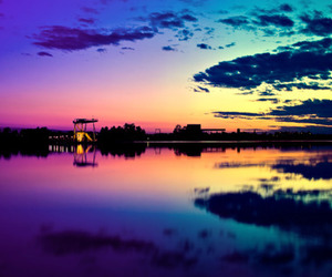 sunset, clouds, and lake image