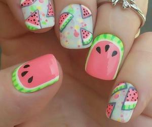 nail art, pretty, and watermelon image