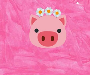 beauty, flowers, and pig image