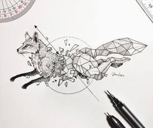 black, fox, and white image