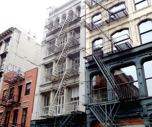 black and white, fire escape, and new york image