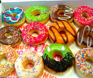 candy, color, and donnuts image