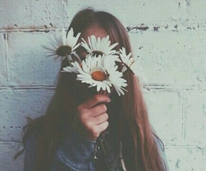 flowers, girl, and grunge image