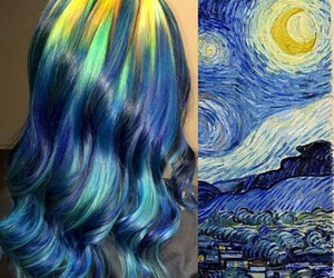hair, art, and van gogh image