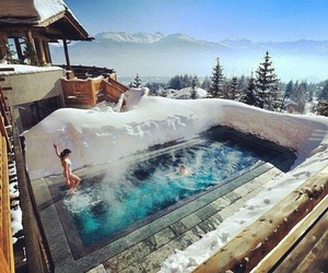 pool, snow, and travel image