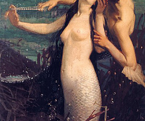 couple, sea, and mermaid image