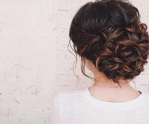 hair, hairstyle, and bun image