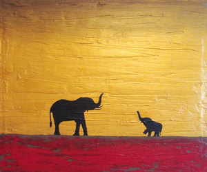 african art, baby elephant, and modern painting image