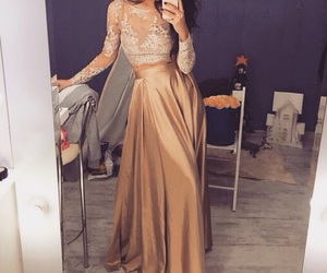 dress, style, and gold image