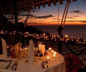 love, romantic, and dinner image