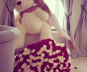 gifts, roses, and teddy bear image
