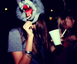 girl, party, and wolf image