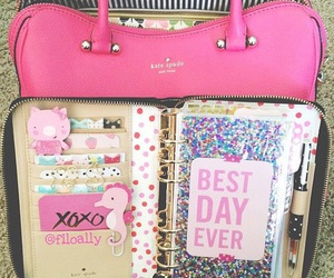 pink, bag, and planner image