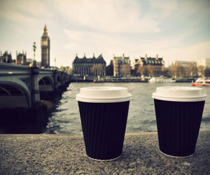 london, coffee, and bridge image