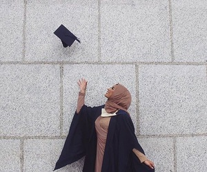 hijab, muslim, and graduation image