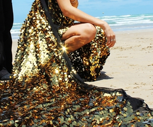 dress, gold, and beach image