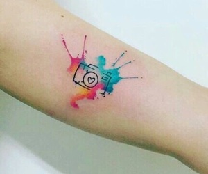 tattoo, camera, and colors image
