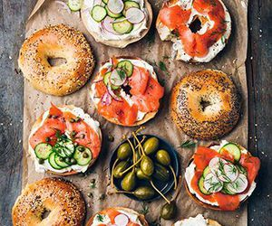 bagels, food, and salmon image