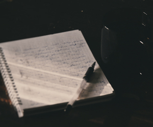 alone, cup, and notebook image