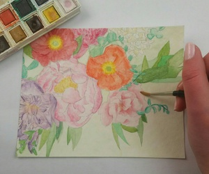 aquarelle, bouquet, and Fleurs image