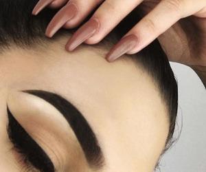 nails, girl, and eyebrows image