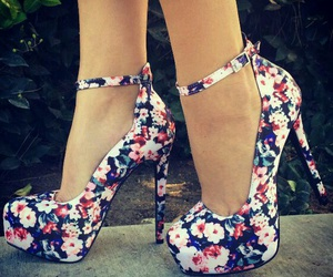 chic, floral, and shoes image