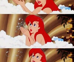 ariel, disney, and bubbles image