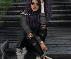 girly_m, cat, and art image