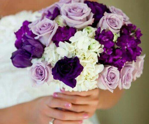 flowers, purple, and bouquet image