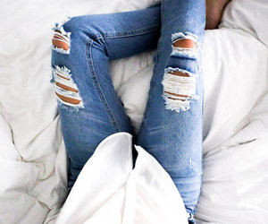 jeans, fashion, and ripped image